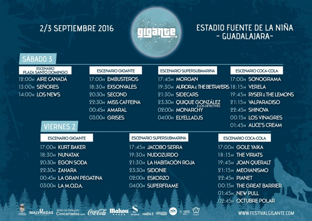 Horarios Festival Gigante 2016