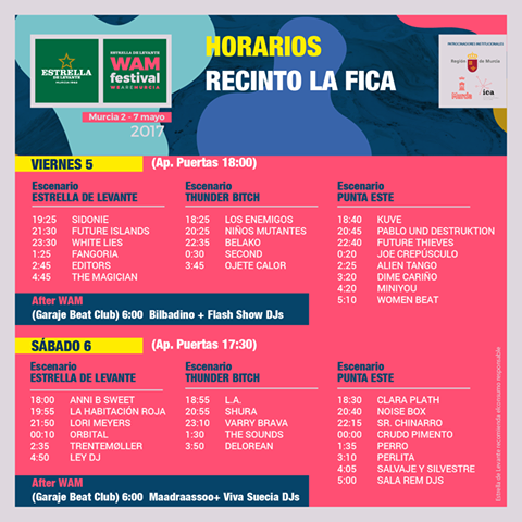 WAM Festival Murcia Horarios 2017
