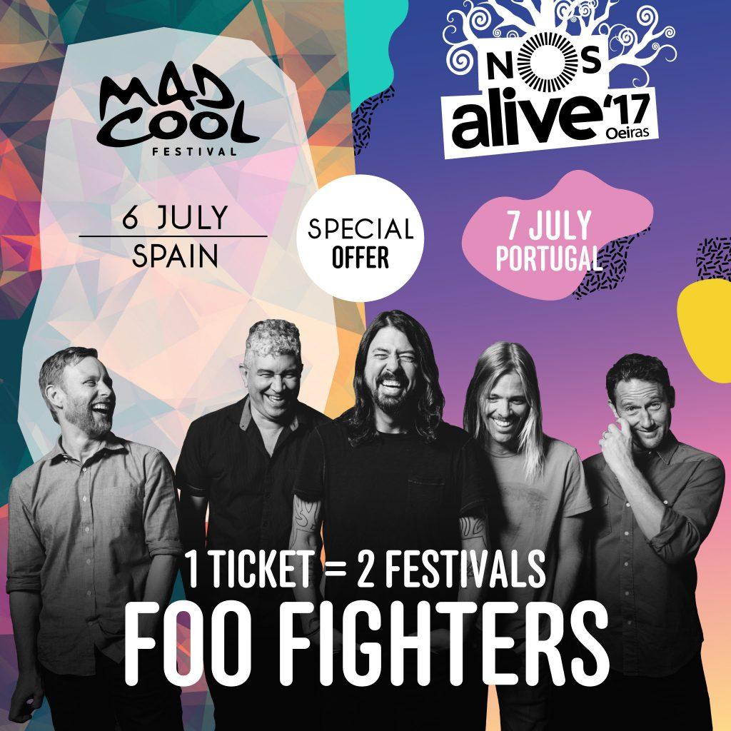 Foo Fighters 100 entradas Mad Cool y NOS Alive 2017