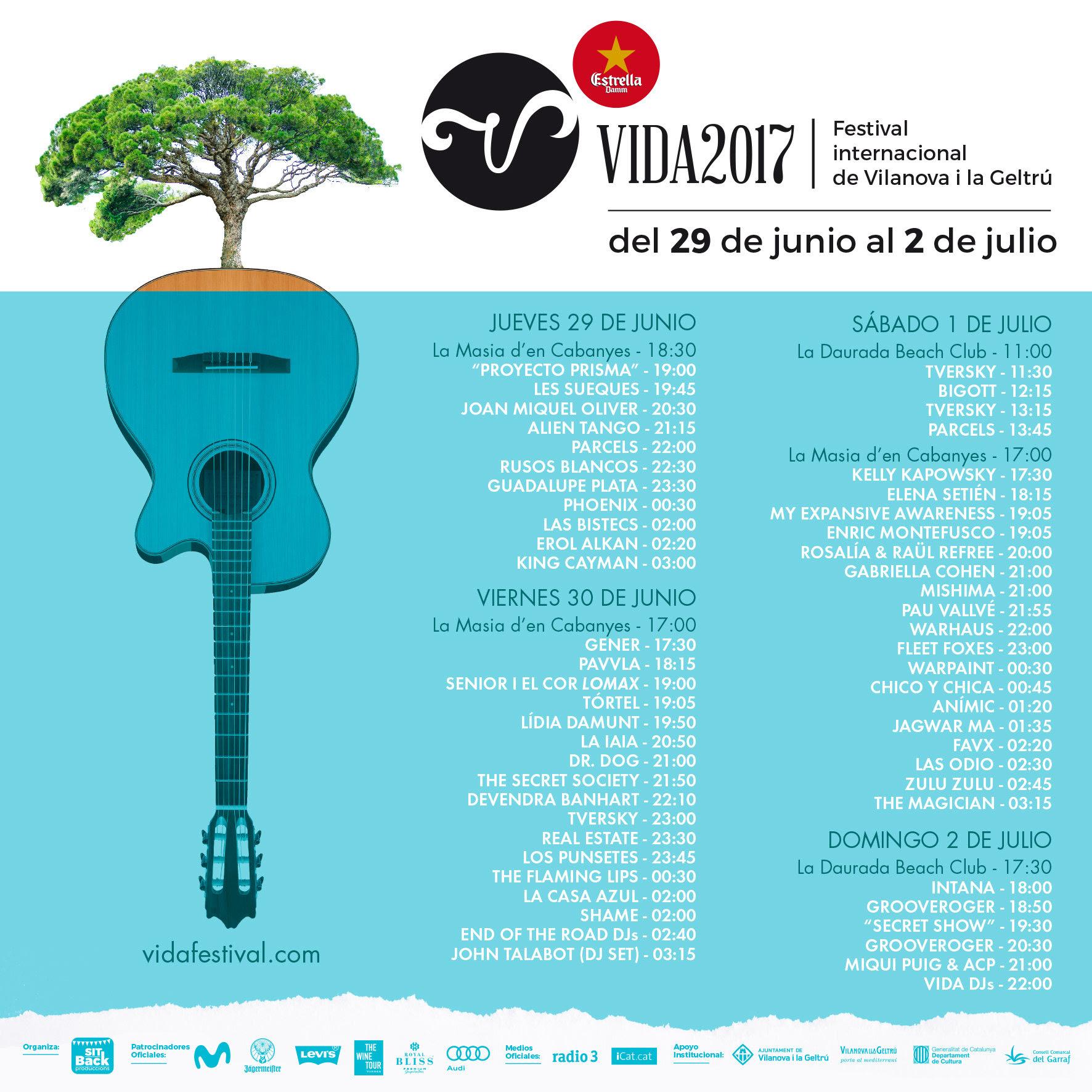 Horarios Vida Festiavl 2017 . Festival internacional de Vilanova i la Geltrù
