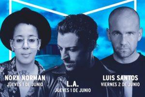 Nora Norman, L.A. y luis Santos  en Callao presentando el Ballantine´s True Music Festival