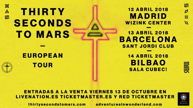 thirty seconds to mars gira madrid barcelona bilbao jared leto