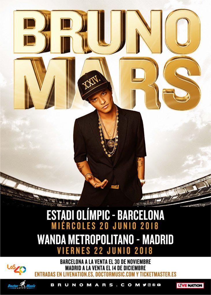 Bruno Mars anuncia gira de estadios en Barcelona y Madrid en 2018