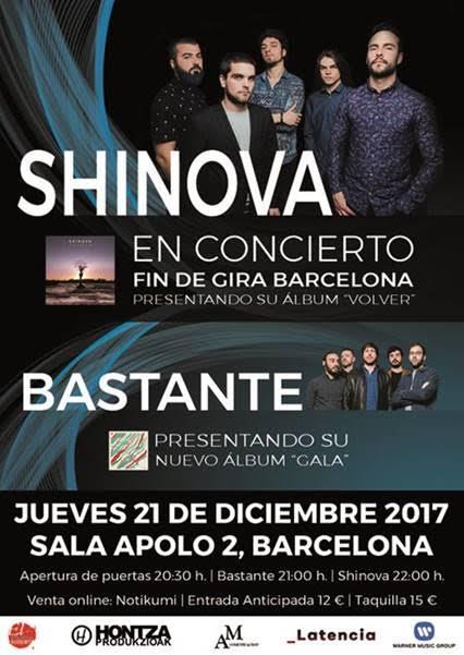 fin de gira de shinova en Barcelona junto a Bastante