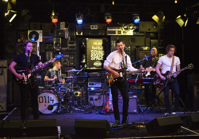 (L-R) Nick O'Malley, Matt Helders Alex Turner and Jamie Cook of the Arctic Monkeys performs at the Red Bull Soundspace at 106.7 KROQ