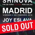shinova soldout en Madrid y estarán acompañados de David Kano.