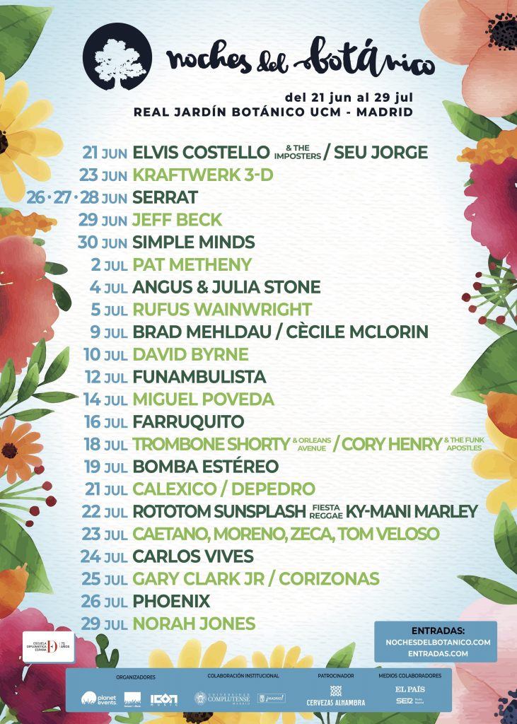 Nuevas confirmaciones de Noches del Botánico: Carlos Vives, Angus & Julia Stone, Trombone Shorty y Corizonas
