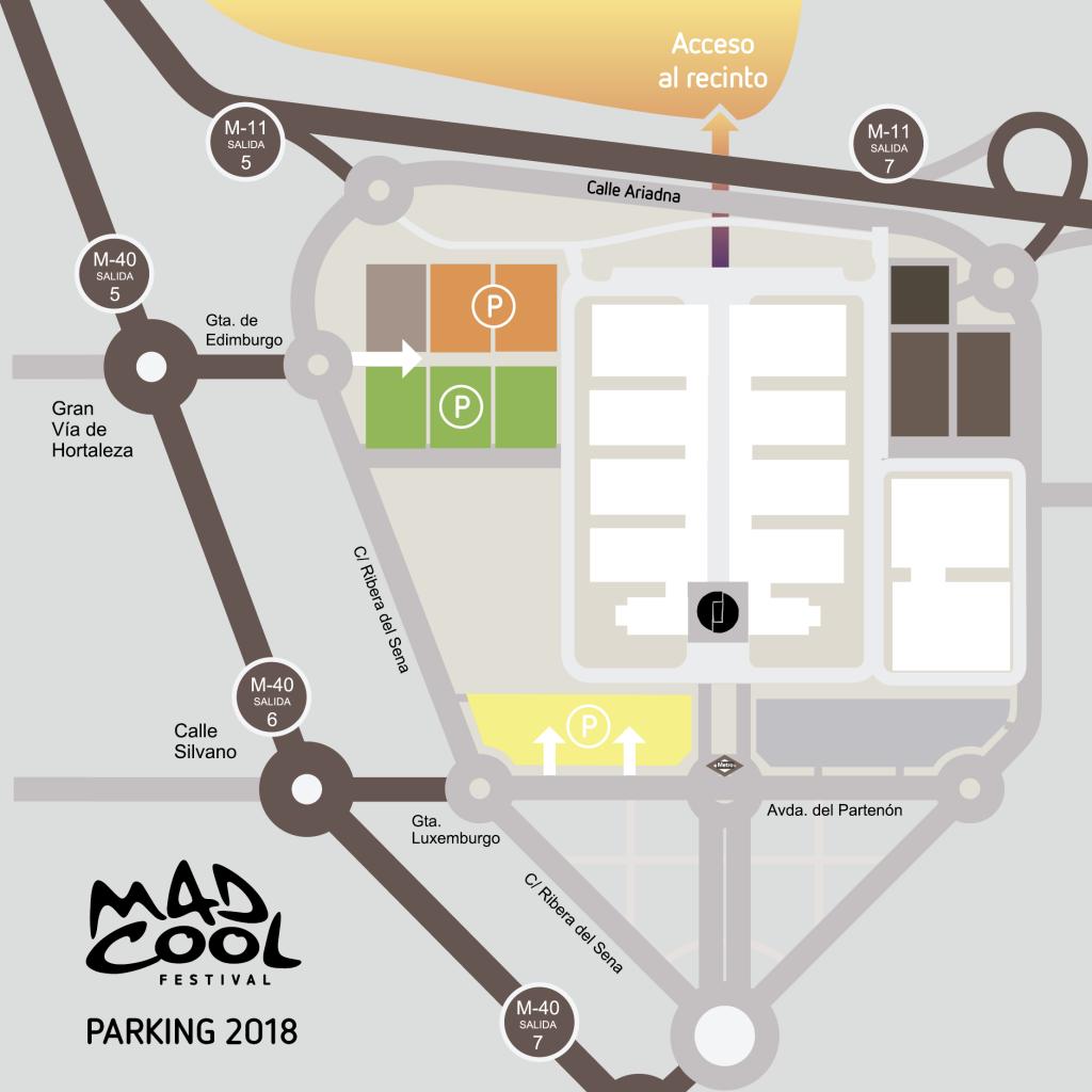 parking para el mad cool festival 2018 en Valdebebas
