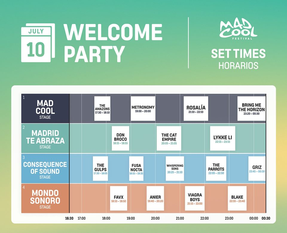 welcome party mad cool 2019 horarios