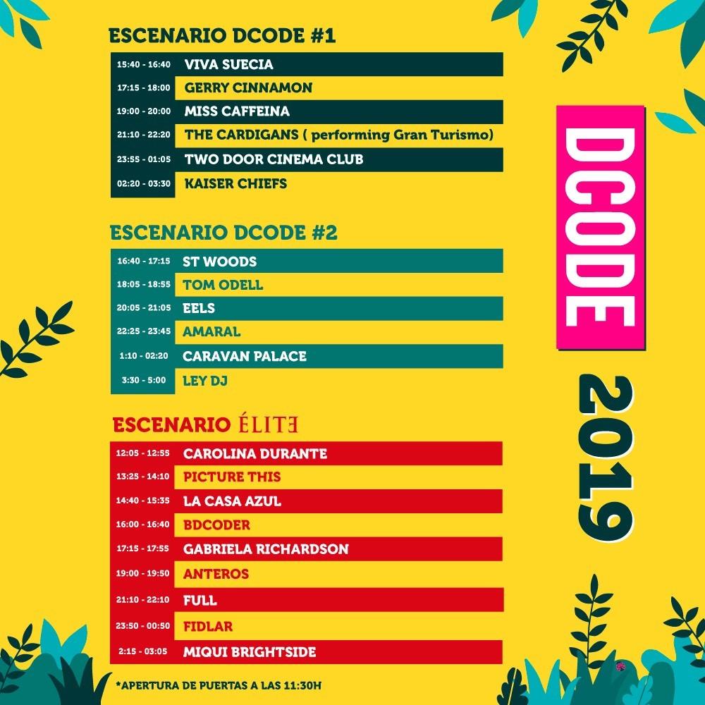 HORARIOS DCODE 2019