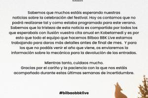 bilbao bbk live 2020 cancelado